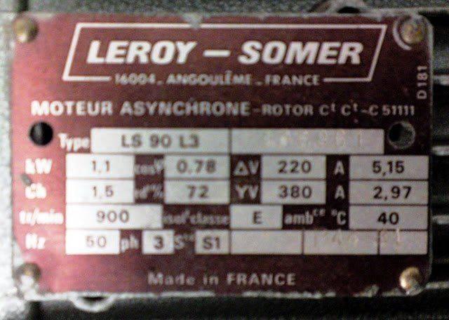 cincinnati Milacron PF 26  380V 27369  moteur asynchrone LS 90 L3 LEROY SOMER5.JPG