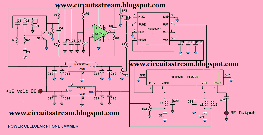 Full Power Mobile Phone Jammer Circuit Diagram.png