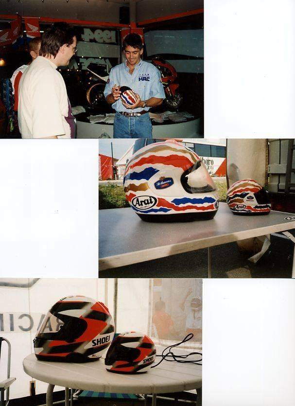 Meeting with Doohan. - PARAMATTA Honda shop 1994 + Doohan & Rainey helmets - Magny Cours 1992.jpg