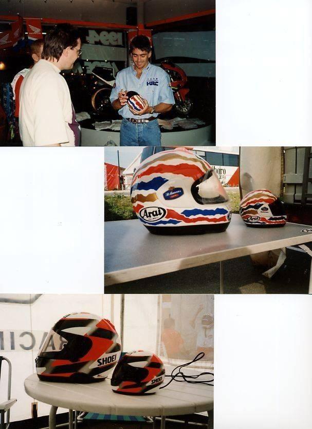 Meeting with Doohan. - PARAMATTA Honda shop 1994 + Doohan & Rainey helmets - Magny Cours 1992.jpg