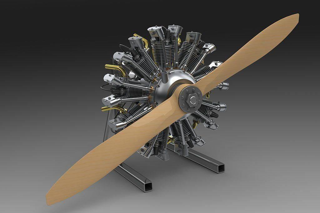 Olsryd 9 Cylinder Radial Engine on stand prop4 1024pix.jpg