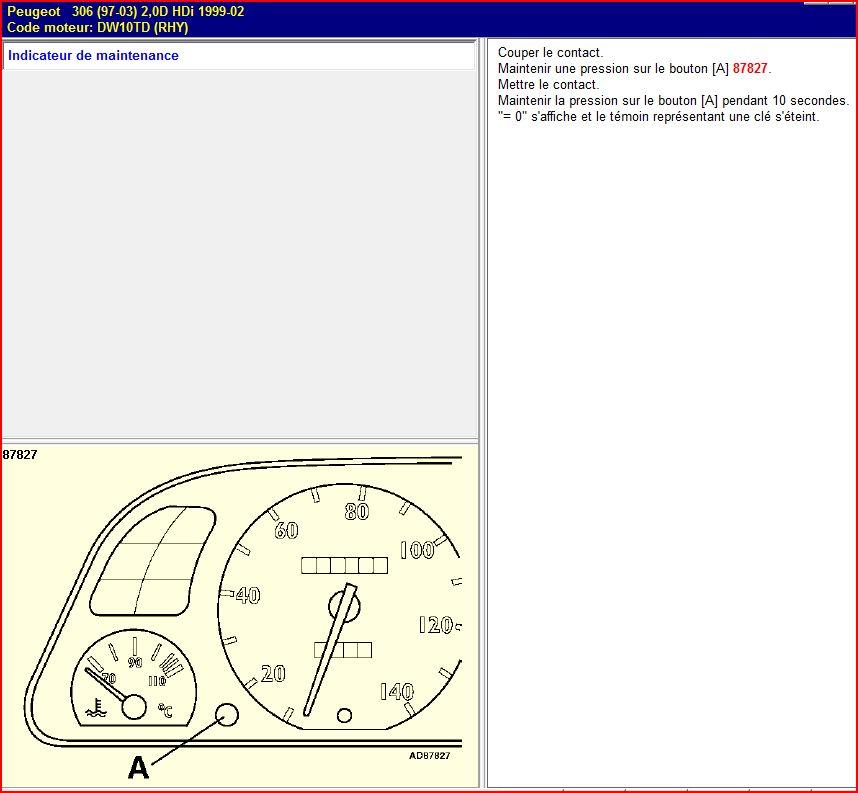 Remise à zéro de l'indicateur de maintenance sur les Peugeot 306 Capturer8_132